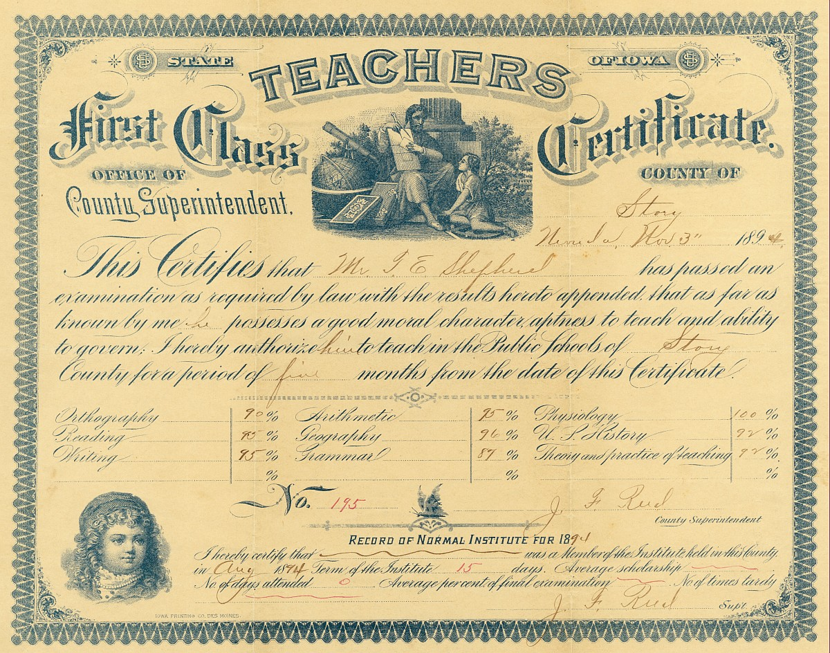 Teaching contracts ames historical society 1894teachingcertificateg 1894 teachers certificate 1betcityfo Images
