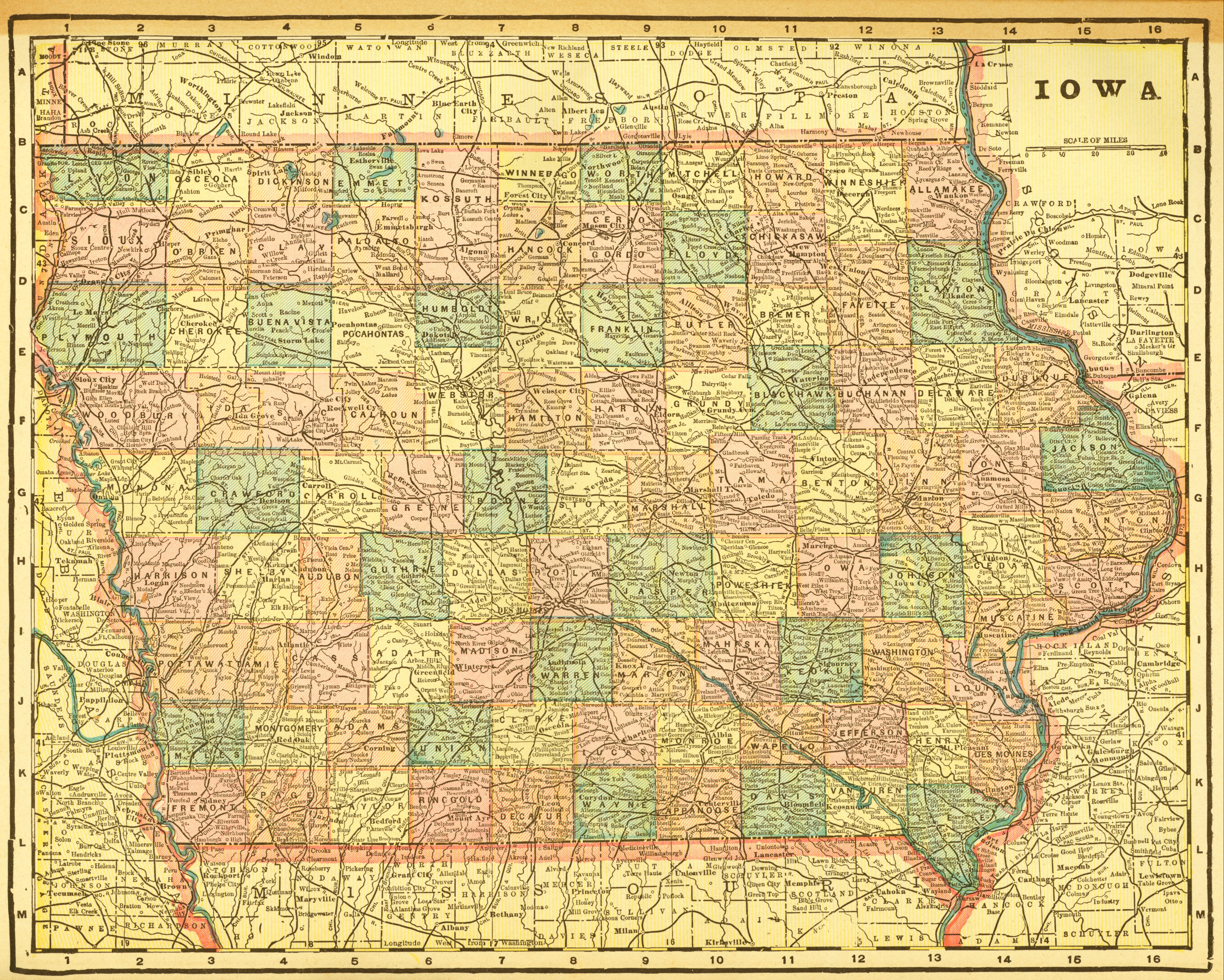 Crams Unrivaled Atlas Of The World Ames Historical Society - Map of iowa towns