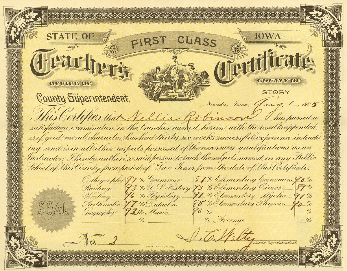 Teaching Contracts Ames Historical Society