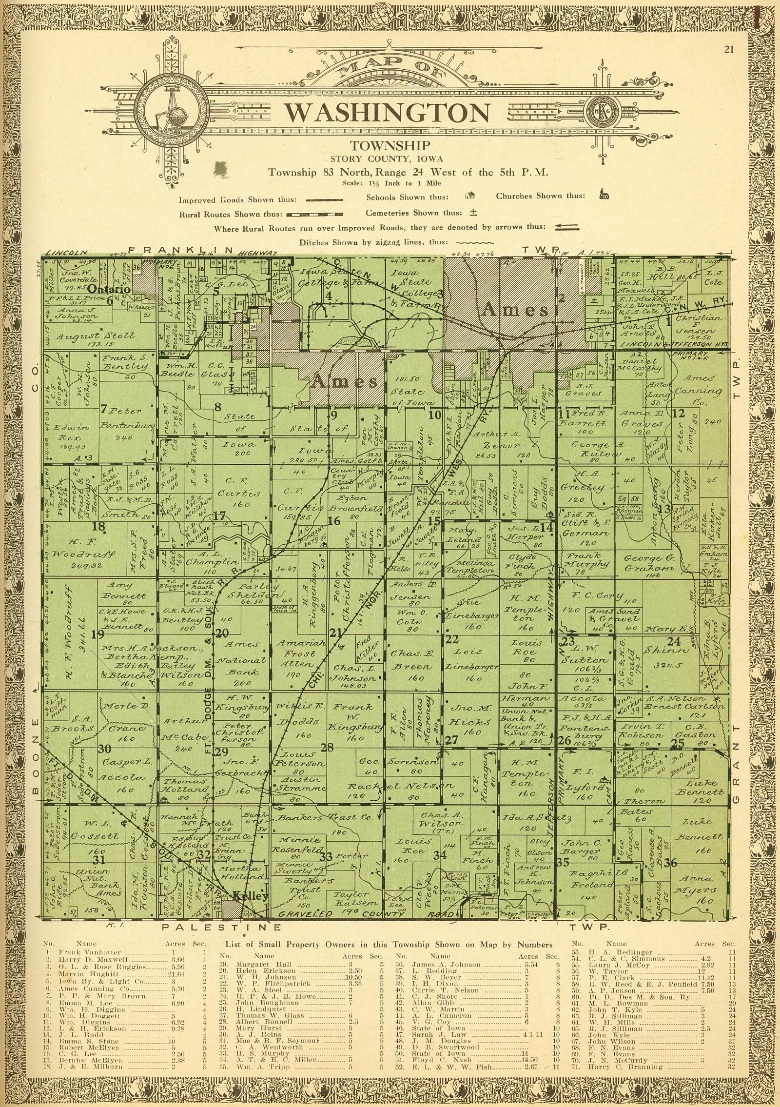 Washington County Iowa Map.1926 Atlas And Plat Book Of Story County Iowa Ames Historical Society