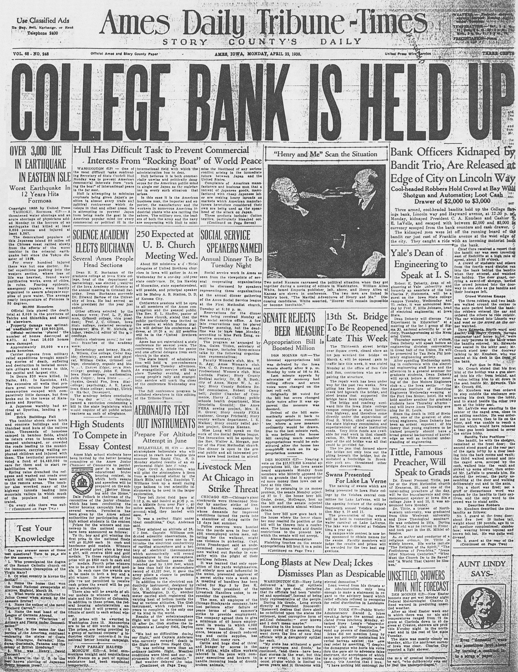 college savings bank robbery ames historical society college savings bank robbery 1935
