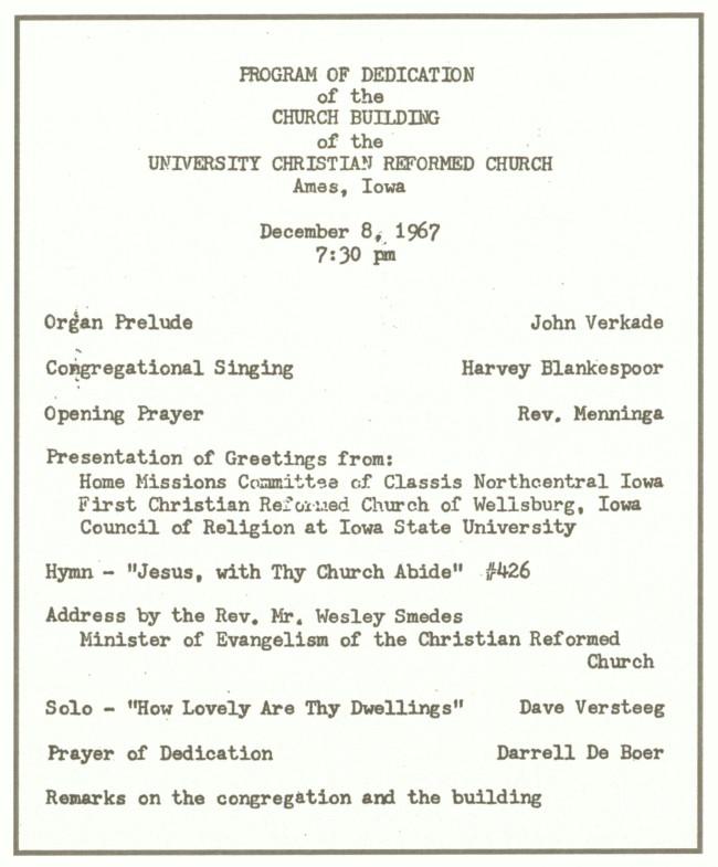 Trinity Christian Reformed Church Ames Historical Society