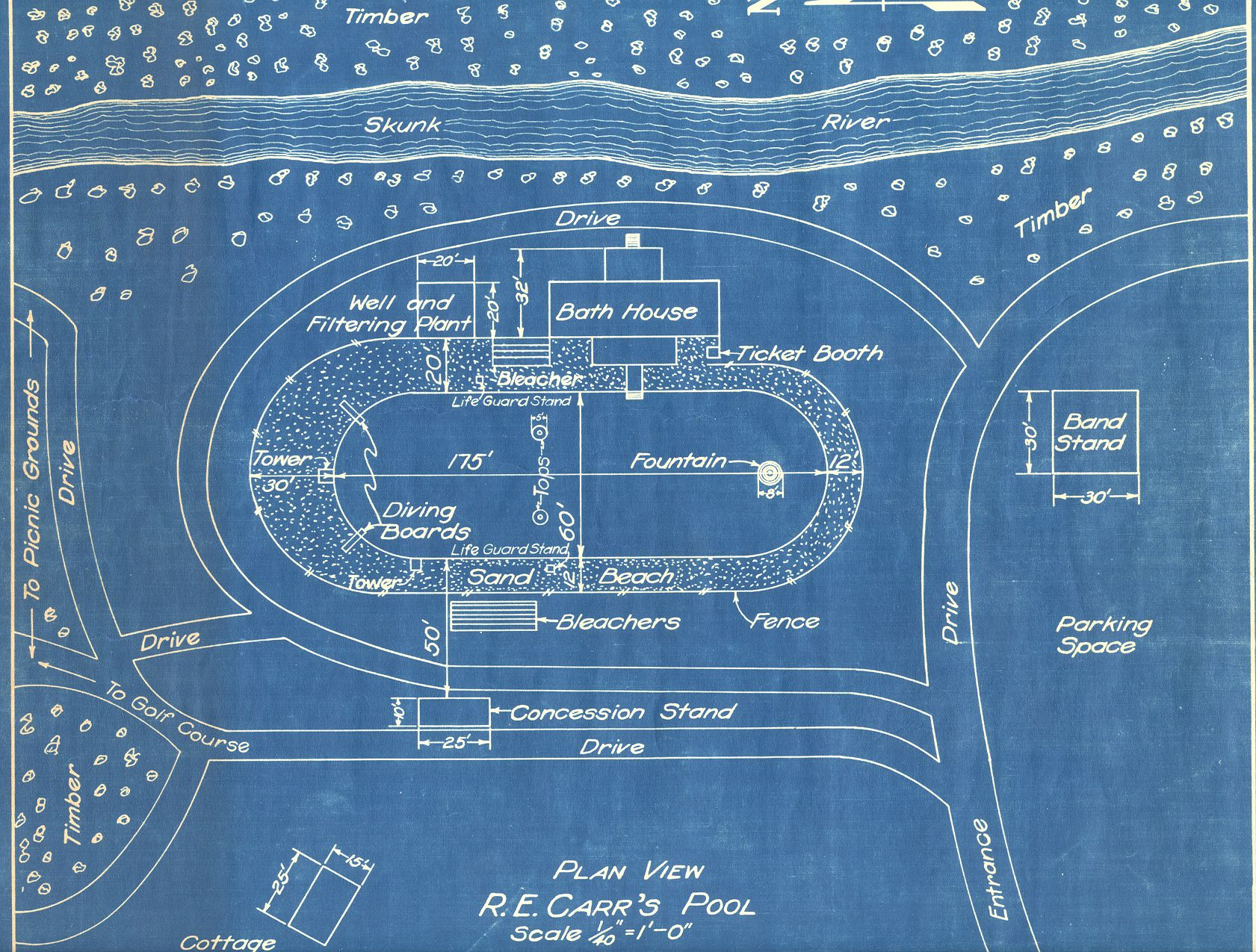 Carrs pool ames historical society this blueprint of carrs pool shows a bandstand malvernweather Gallery