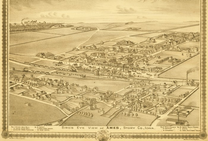 1875 Bird' seye View of Ames - click to enlarge