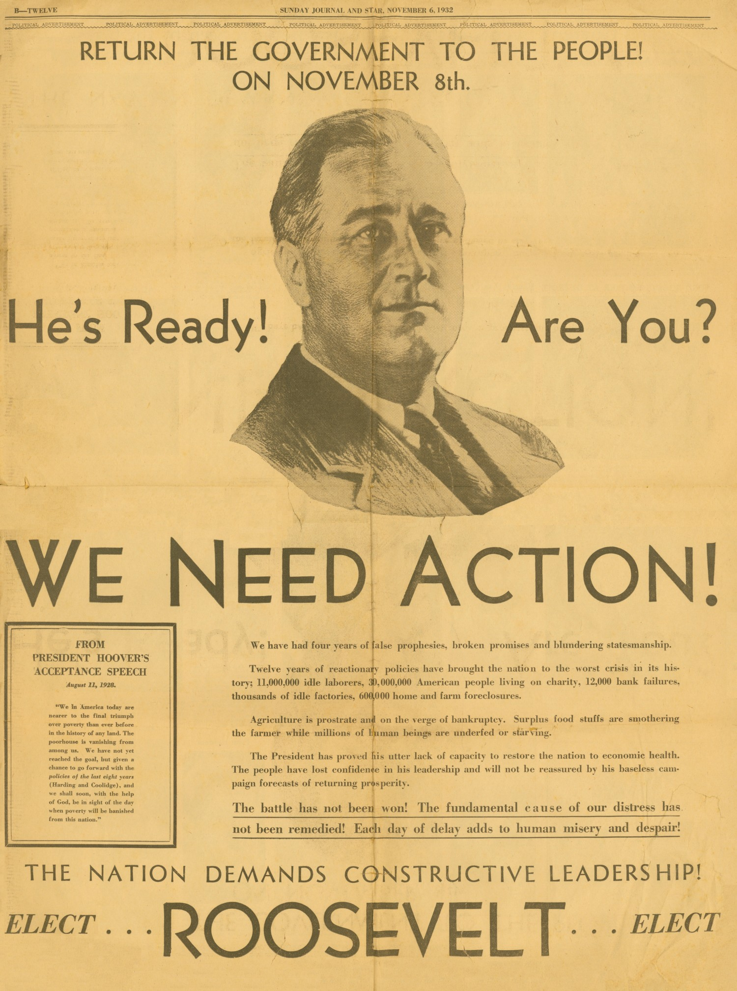 great depression ames historical society 1932 advertisement to elect franklin roosevelt